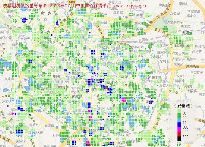 成都地图租房 - 成都租房供给量地图图片