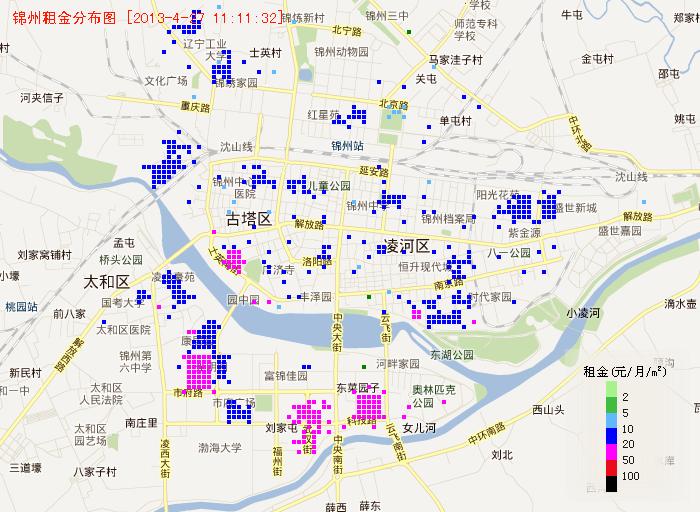 锦州租金地图 - 城市房产