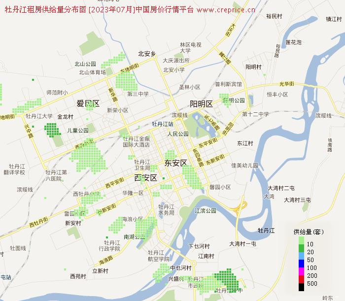牡丹江地图租房 - 牡丹江租房供给量地图