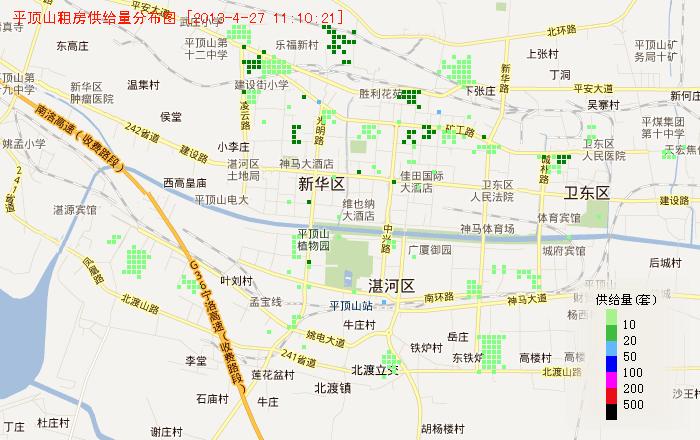 平顶山地图租房 - 平顶山租房供给量地图